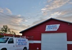 Van and building with Mid-State Air Conditioning, Heating, and Plumbing Logo
